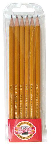 Карандаши чернографитные простые, набор 6шт. KOH-I-NOOR Hardmuth 1570.6 2H-2B