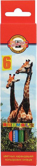 Карандаши цветные 6цв. KOH-I-NOOR 3551 Зоопарк