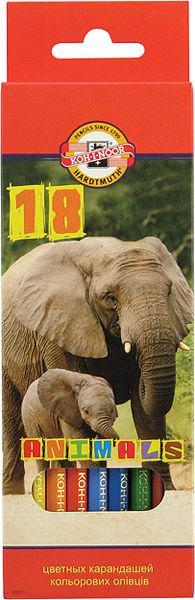 Карандаши цветные 18цв. KOH-I-NOOR 3553 Зоопарк
