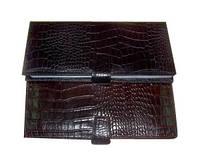 Визитница натуральная кожа Canpel 500 160 визиток_кроко кориченевый мелкий/крупный 003/012
