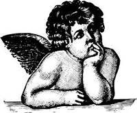 Штамп акриловый. Мечтающий ангел (маленький) 4х3,3см