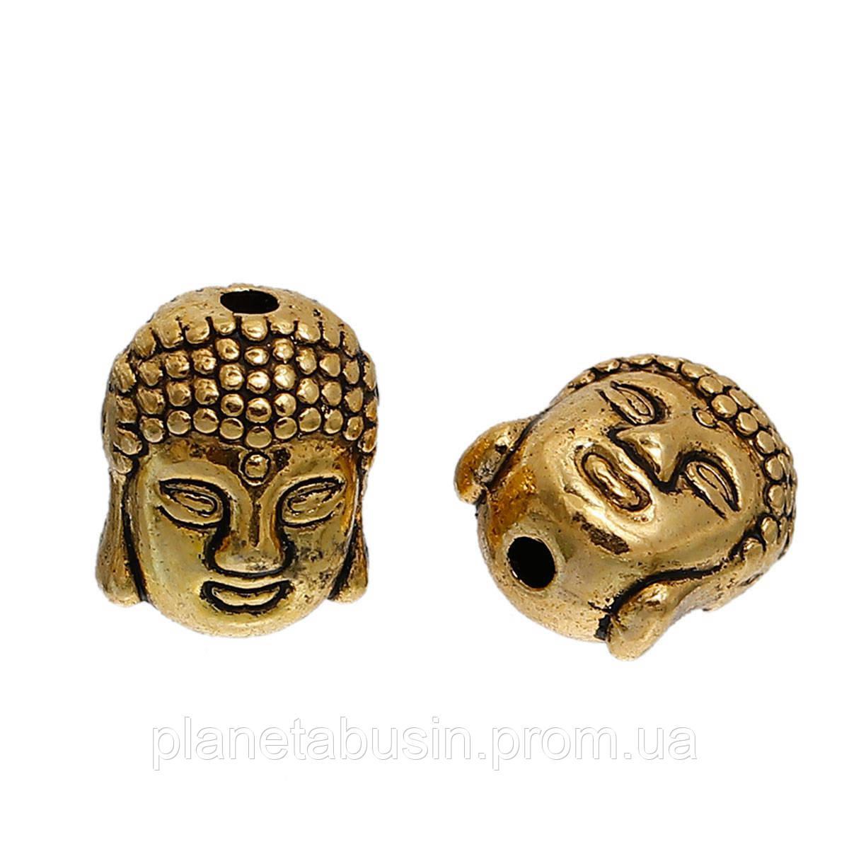 2 шт. в уп. Металлические бусины Будды, Голова Будды. Цвет: Античное золото, Размер: 9х11мм, Отверстие: 1,5мм
