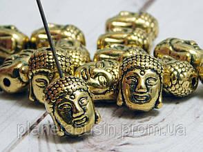 2 шт. в уп. Металлические бусины Будды, Голова Будды. Цвет: Античное золото, Размер: 9х11мм, Отверстие: 1,5мм, фото 2