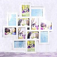 Рамка коллаж на 12 фото, белая, 63*63 см