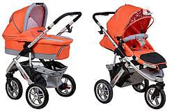 Детская коляска универсальная 2в1 Adamex Quatro 3 orange (Адамекс Кватро, Польша)