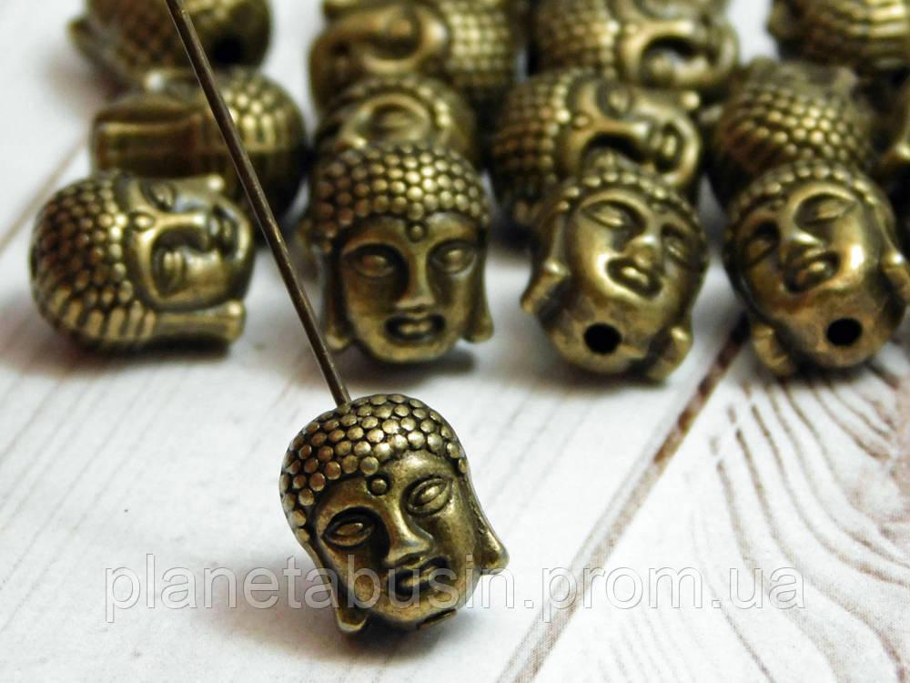 2 шт. в уп. Металлические бусины Будды, Голова Будды. Цвет: Античная бронза, Размер: 9х11мм, Отверстие: 1,5мм