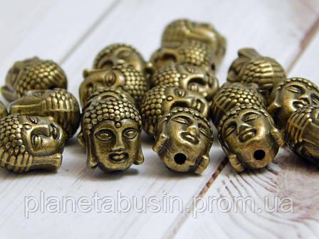 2 шт. в уп. Металлические бусины Будды, Голова Будды. Цвет: Античная бронза, Размер: 9х11мм, Отверстие: 1,5мм, фото 2