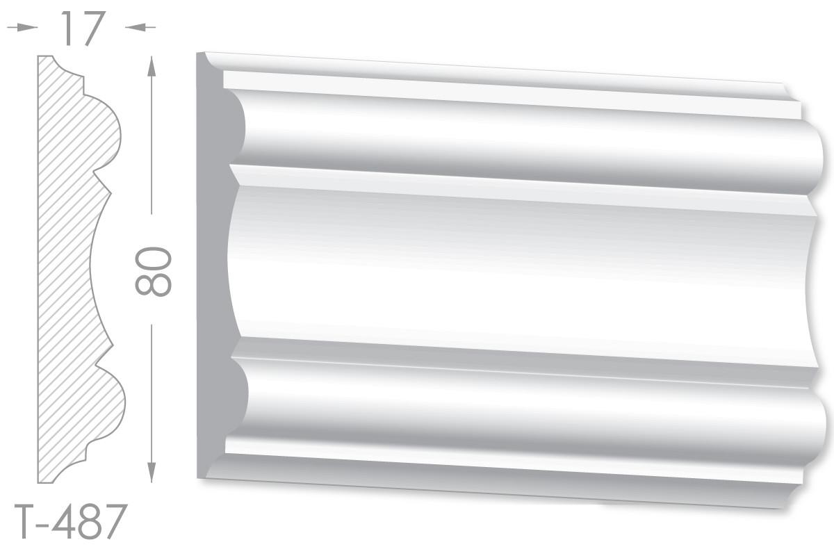 Декоративный молдинг, плинтус, фриз, тяга с гладким профилем из гипса т-487