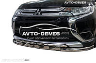 Защита переднего бампера Mitsubishi Outlander 2015-2017 двойной ус с грилем