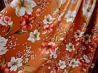 Фотоштора атлас золотистого цвета цветочный принт