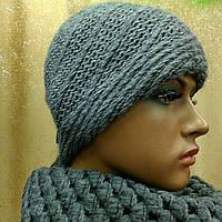 Glam. TM LOMAN женская шапка полушерстяная. серый цвет