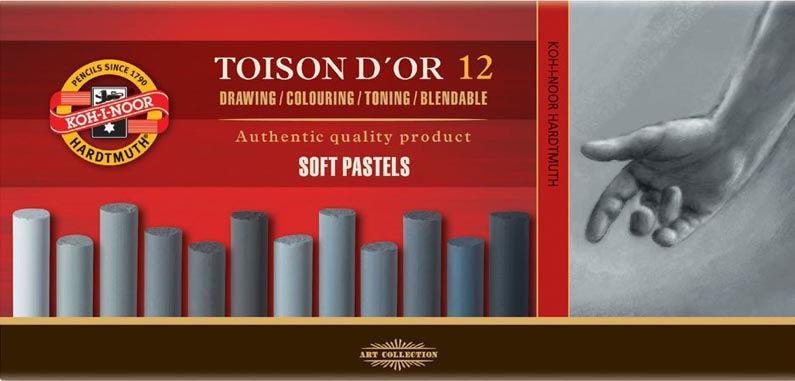 Пастель сухая KOH-I-NOOR Toison Dor набор 12шт. серый 8522/2