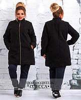 Женское черное пальто с змейкой 881138