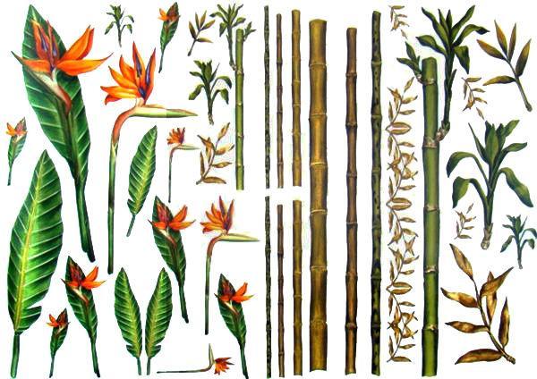 Декупажная карта-бумага 50*70см 90711 Бамбук и Тропические цветы