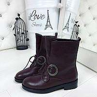 КОД 393 Ботинки на шнурках Марсала