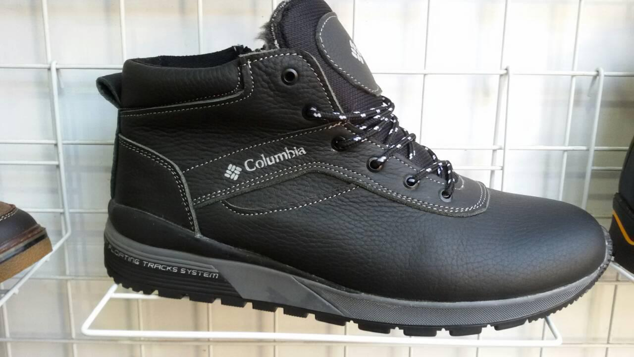 47542de3b500 Распродажа! Кожаные мужские ботинки (кроссовки,красовки) зимние черные  Columbia! Натуральная кожа