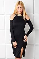 Нарядное черное платье Альбертина с разрезом