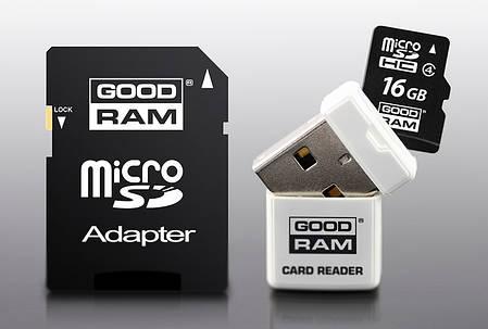 Карта памяти micro SD 16Gb Goodram + USB + Adaper, фото 2