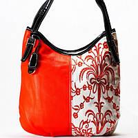 Женская сумка Velina Fabbiano белая с оранжевым