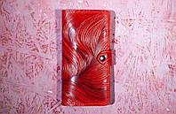 Кожаный кошелек вестерн XL, Барханы, красный., фото 1