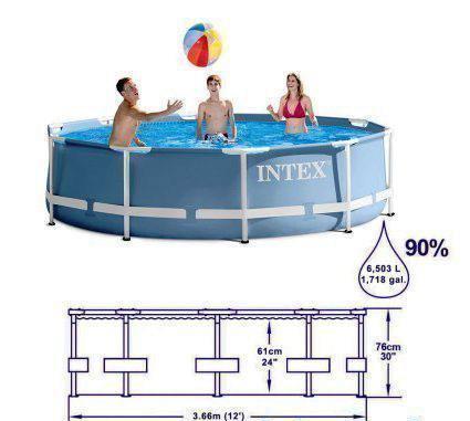 Каркасный бассейн Intex 28712 Prism Frame + фильтр насос 366x76 см