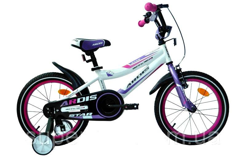 """Детский велосипед ARDIS STAR 16""""  Белый/Фиолетовый"""