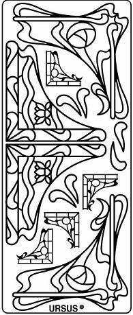Наклейка скрапбукинг URSUS 10*23см уголки МОДЕРН, Золото UR-59100044
