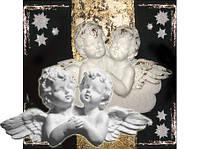 Фигурка гипс для декорирования панно Ангелы близнецы 8см Б-А6