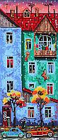 Схема для вышивки бисером POINT ART Город под дождем, размер 17х41 см