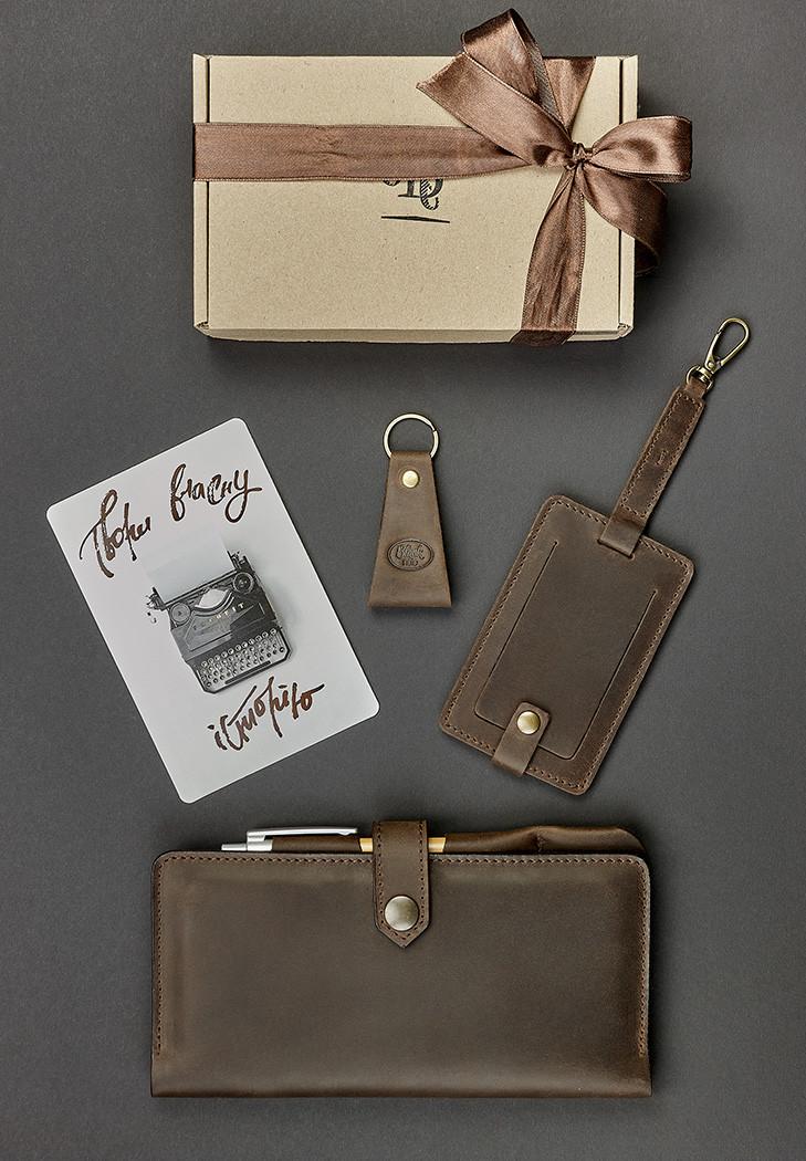 Подарунковий набір шкіряний чоловічий коричневий (клатч-гаманець, брелок, багажна бирка, листівка) ручна робота
