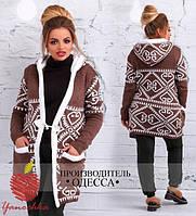 Женское вязанное пальто с принтом 88563 (бат)