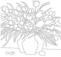 Картина раскраска с контурами на холсте 1 ВЕРЕСНЯ 30*30см Ваза с цветами 950404