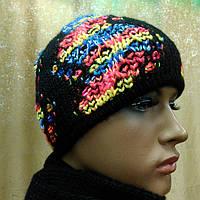 Стильная женская шапка Ametyst TM Loman, полушерстяная, цвет черный с терракотовым меланжем, фото 1