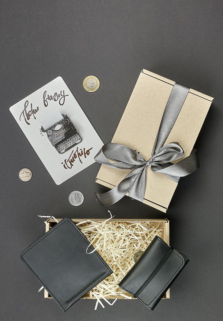Подарочный набор черный (портмоне, кард-кейс) ручная работа