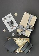 Подарочный набор черный (портмоне, кард-кейс) ручная работа, фото 1