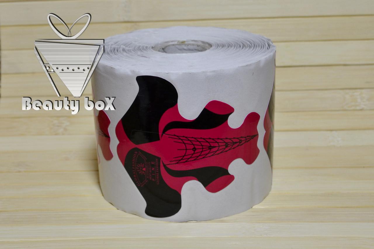 Форма для наращивания широкая 8 см, 100 штук (красно - черная)
