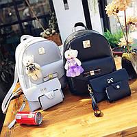 Стильный набор женских сумок 2в1 с брелком мишка (рюкзак+клатч+кошеле+визитница)