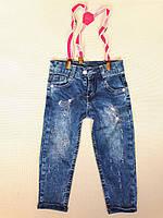 Детские джинсы с подтяжками на девочку плотные р. 2-3-4-5 лет