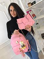 Стильный набор женских сумок 4в1 (рюкзак+клатч+кошелек+визитница)