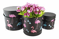 Шляпные коробки под цветы Фламинго, черные, набор 3 шт