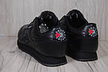 Reebok Classic Black черные кроссовки унисекс, фото 3