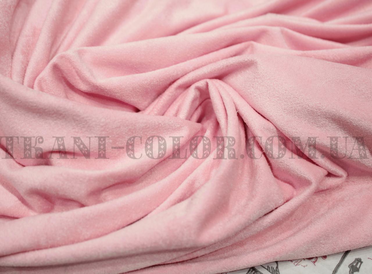 Ткань замша стрейч розовая