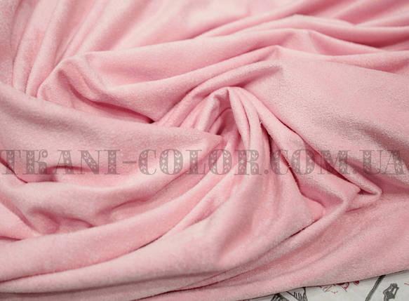Ткань замша стрейч розовая, фото 2