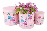 Шляпные коробки под цветы Фламинго, розовые, набор 3 шт