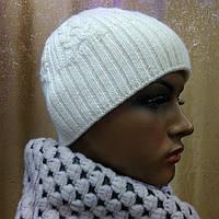 Женская двойная шапка Solene ТМ LOMAN, полушерстяная, цвет молочный, фото 1