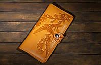 Кожаный кошелек вестерн XL, Ласточки в  цветах вишни, желтый., фото 1