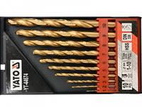 Сверла по металлу 1- 10 мм HSS-TiN YATO 10 шт.