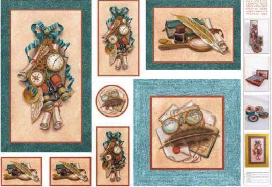 Декупажная карта-бумага 50*70см с металл. эффектом 99505 Композиция - перо, книга, чернила, очки