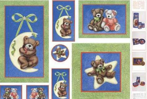 Декупажная карта-бумага 50*70см с металл. эффектом 99507 Детский мотив медвежата, месяц, звезды