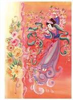Декупажная карта-бумага рисовая 35*50 91983 Японская гейша, розы
